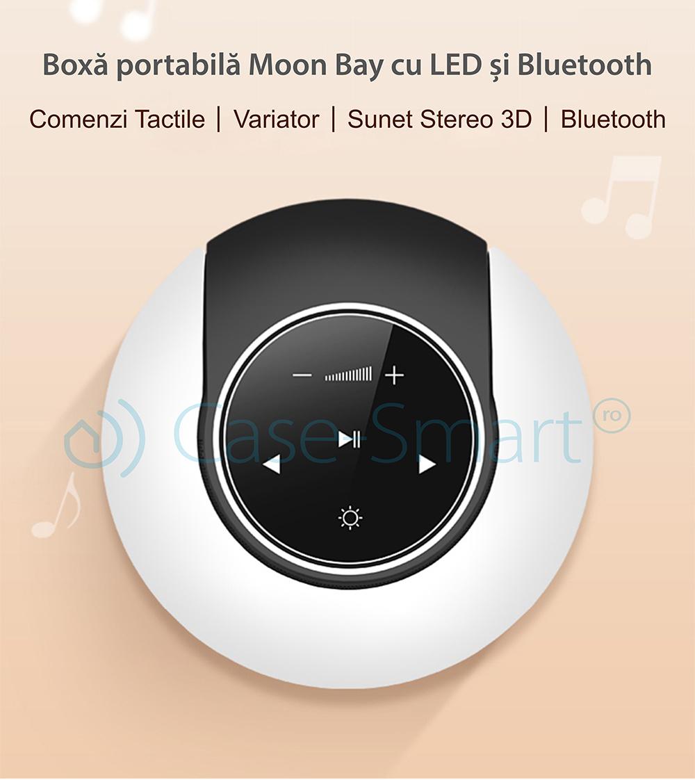 Boxa portabila Red Sun Moon Bay cu lampa cu LED, Bluetooth 4.0, RS-WBSL-07