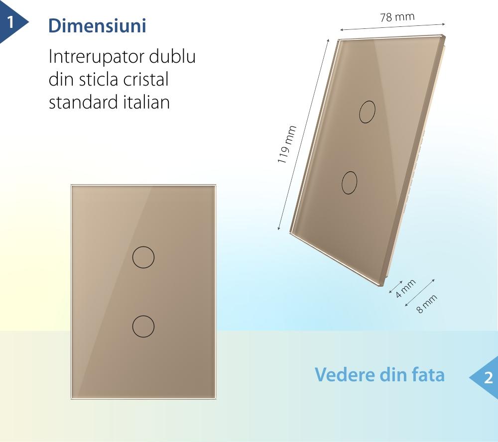 Intrerupator dublu cu touch Livolo din sticla, standard italian – Serie noua