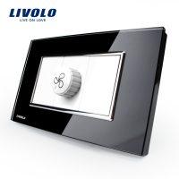 Intrerupator cu variator pentru ventilator Livolo cu rama din sticla – standard italian culoare neagra