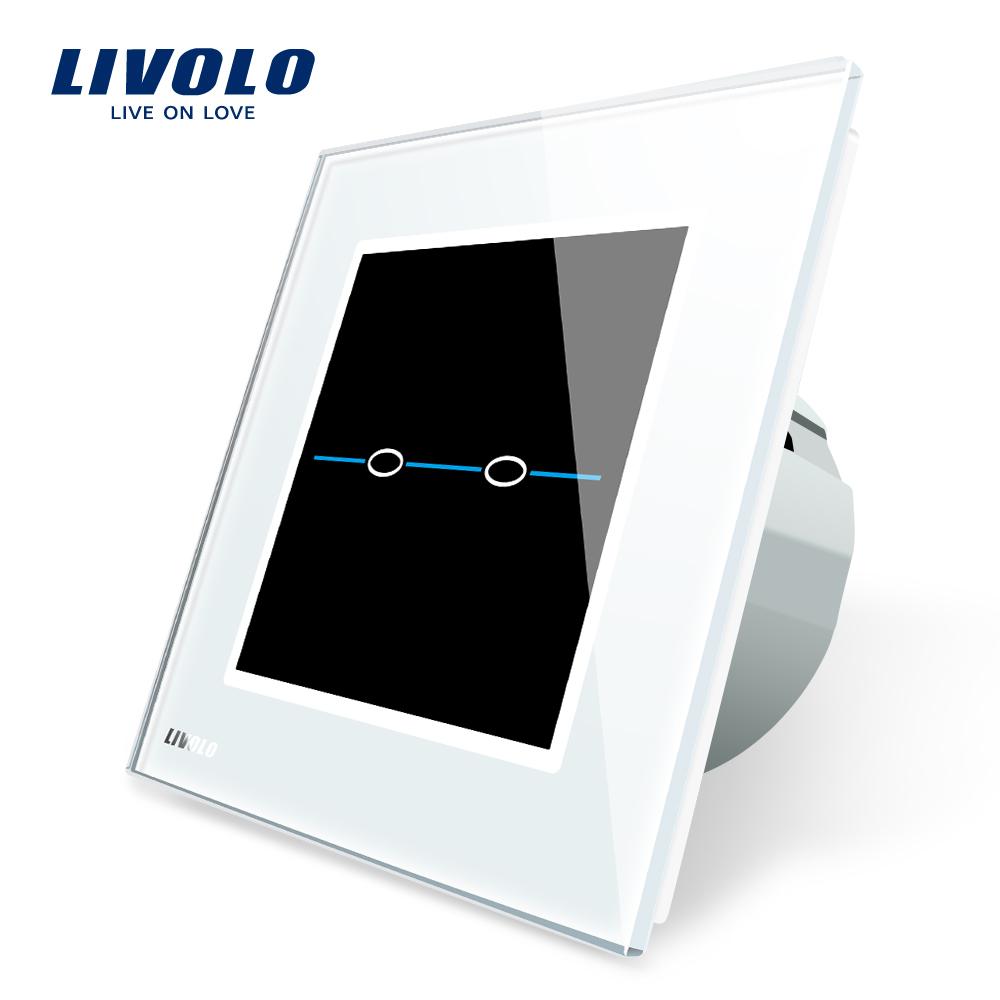 Intrerupator dublu cu touch Livolo din sticla – Seria R imagine case-smart.ro 2021