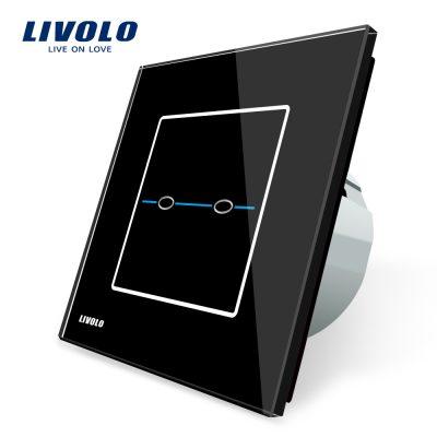 Intrerupator dublu cu touch Livolo din sticla – Seria R culoare neagra