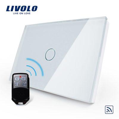 Intrerupator wireless cu touch Livolo din sticla si telecomanda inclusa-standard italian