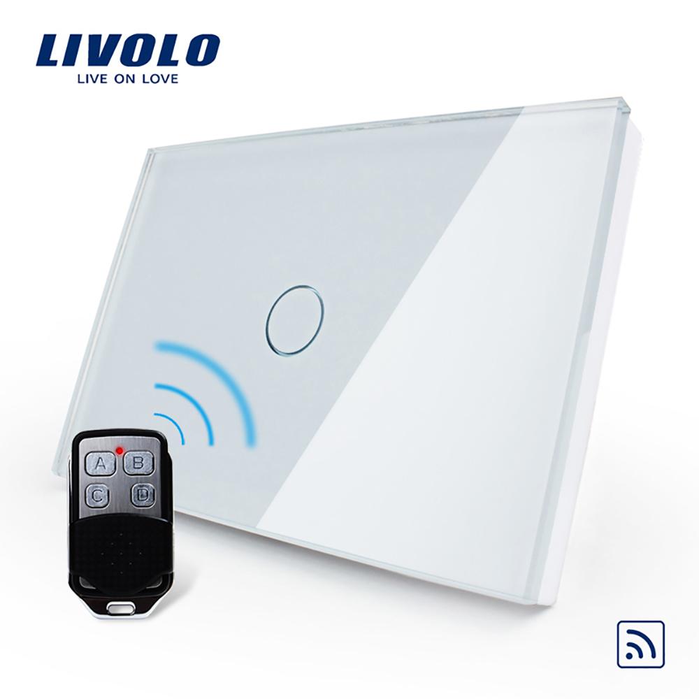 Intrerupator wireless cu touch Livolo din sticla si telecomanda inclusa-standard italian imagine case-smart.ro 2021