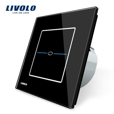 Intrerupator simplu cu touch Livolo din sticla – Seria R culoare neagra