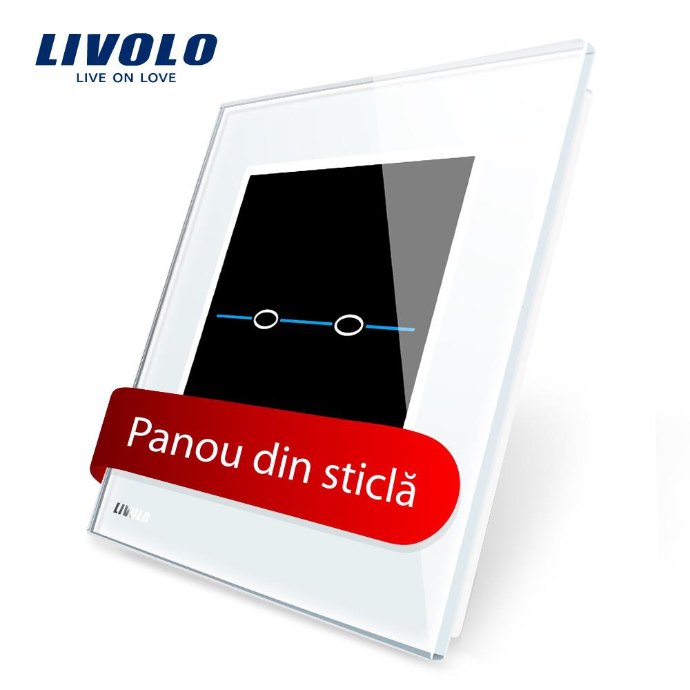 Panou intrerupator dublu cu touch Livolo din sticla – Seria R imagine case-smart.ro 2021