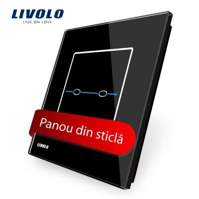 Panou intrerupator dublu cu touch Livolo din sticla – Seria R culoare neagra
