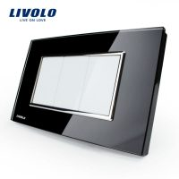 Priza blank – goala Livolo cu rama din sticla – standard italian culoare neagra
