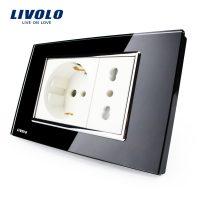 Priza dubla italiana Livolo cu rama din sticla – standard italian culoare neagra
