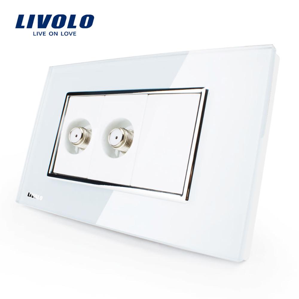 Priza dubla TV satelit Livolo cu rama din sticla – standard italian imagine case-smart.ro 2021