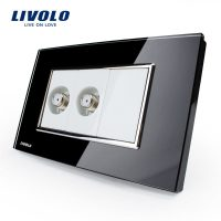 Priza dubla TV satelit Livolo cu rama din sticla – standard italian culoare neagra