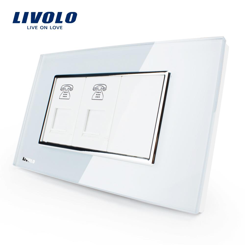 Priza dubla Telefon Livolo cu rama din sticla – standard italian imagine case-smart.ro 2021