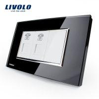 Priza dubla Telefon Livolo cu rama din sticla – standard italian culoare neagra