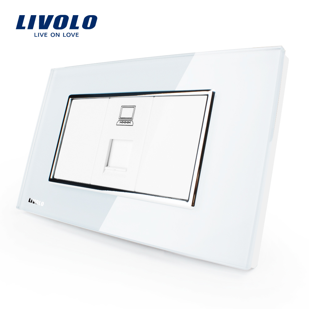 Priza internet Livolo cu rama din sticla – standard italian imagine case-smart.ro 2021