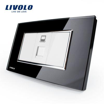 Priza internet Livolo cu rama din sticla – standard italian culoare neagra