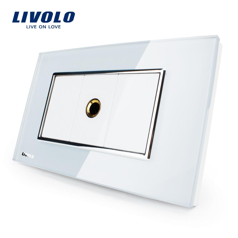Priza cu mufa pentru microfon Livolo cu rama din sticla – standard italian imagine case-smart.ro 2021