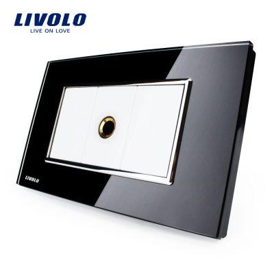 Priza cu mufa pentru microfon Livolo cu rama din sticla – standard italian culoare neagra