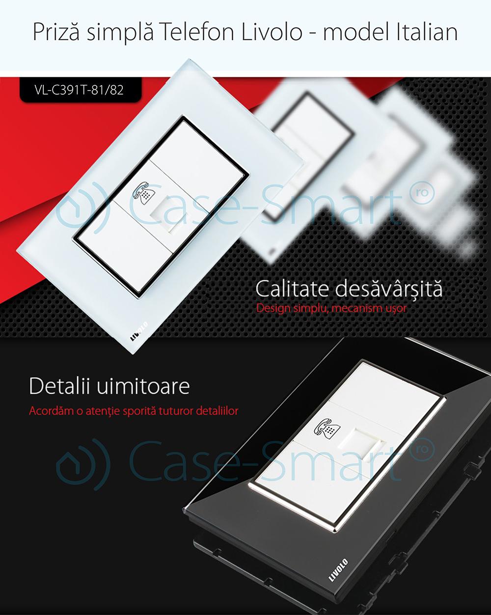 Priza Telefon Livolo cu rama din sticla – standard italian
