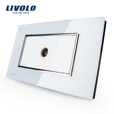 Priza simpla TV Livolo cu rama din sticla – standard italian