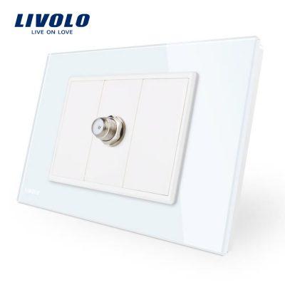 Priza TV satelit Livolo cu rama din sticla – standard italian