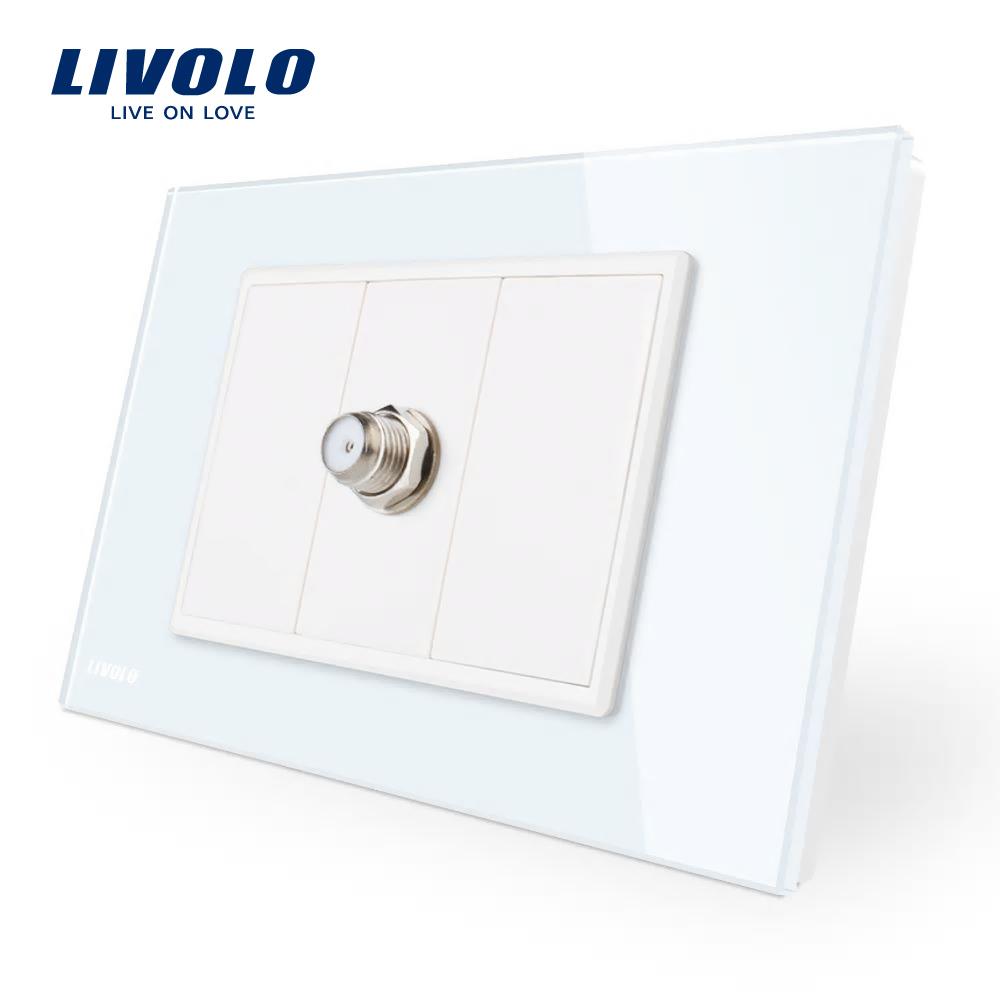 Priza TV satelit Livolo cu rama din sticla – standard italian imagine case-smart.ro 2021