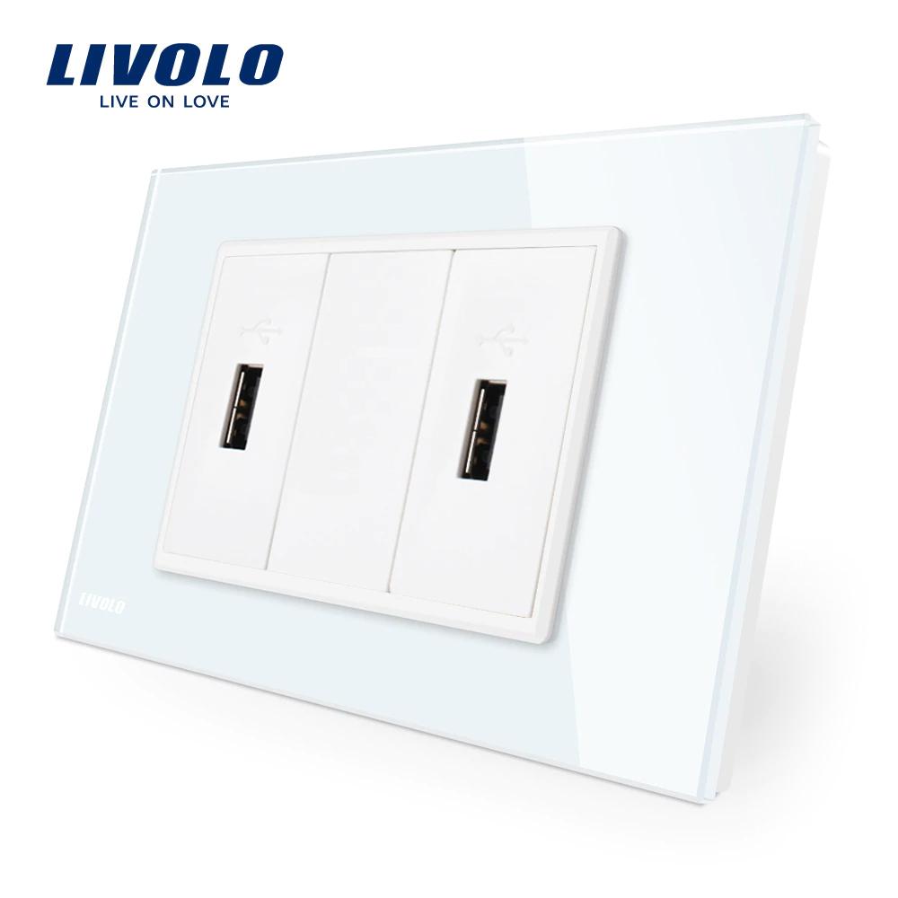 Priza dubla USB Livolo cu rama din sticla – standard italian imagine case-smart.ro 2021