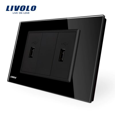 Priza dubla USB Livolo cu rama din sticla – standard italian culoare neagra