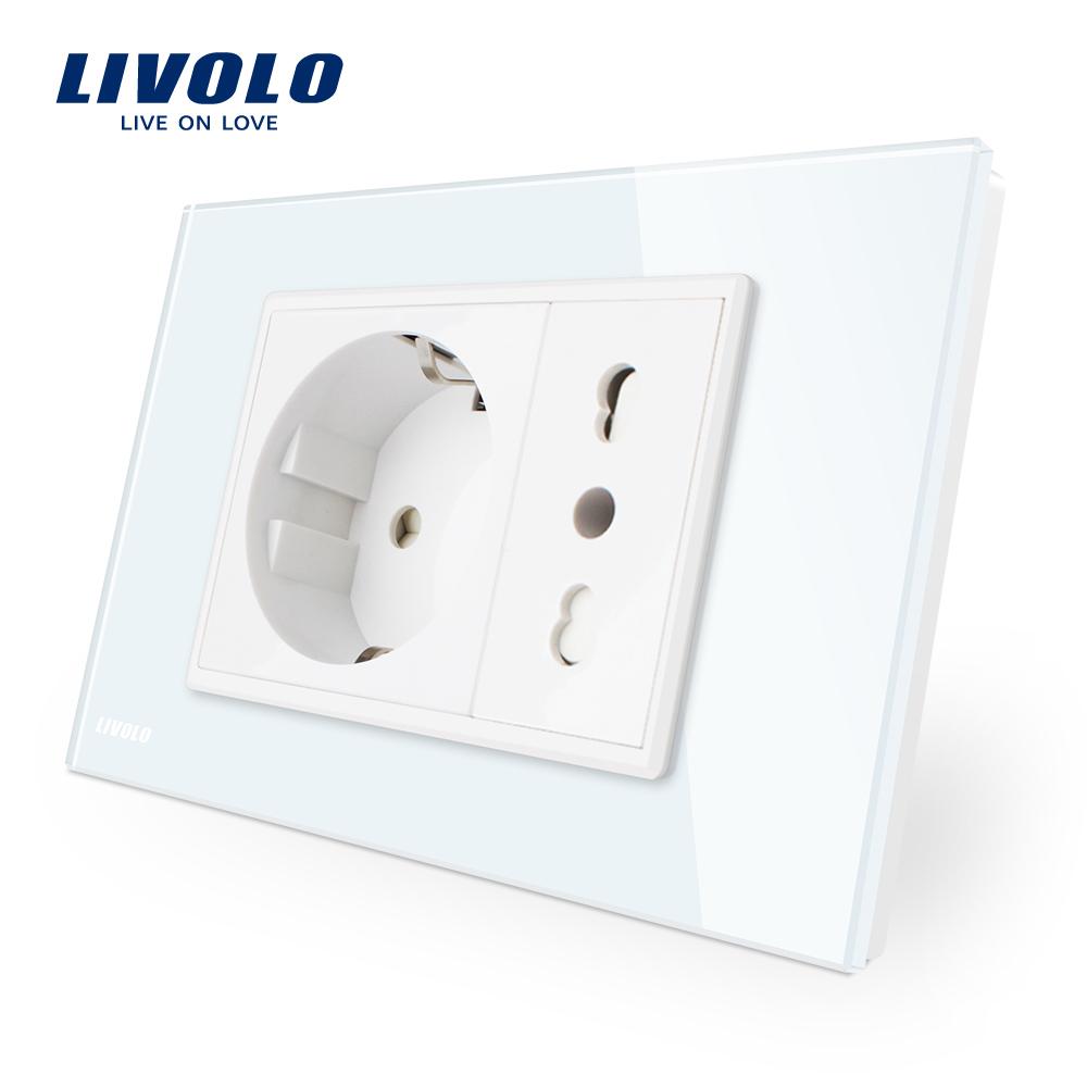 Priza dubla italiana Livolo cu rama din sticla – standard italian imagine case-smart.ro 2021
