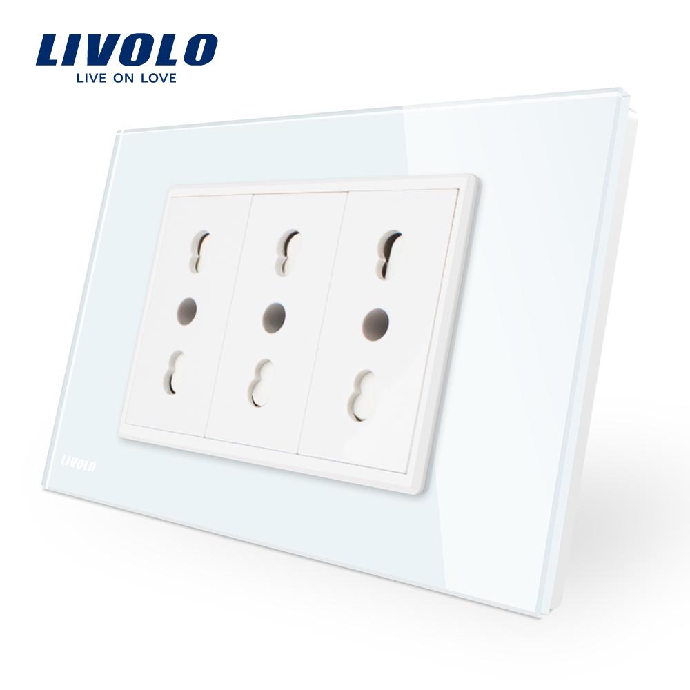 Priza tripla italiana Livolo cu rama din sticla – standard italian imagine case-smart.ro 2021