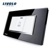 Buton sonerie Livolo din sticla – standard italian culoare neagra