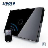 Intrerupator wireless cu touch Livolo din sticla si telecomanda inclusa-standard italian culoare neagra