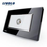 Priza TV satelit Livolo cu rama din sticla – standard italian culoare neagra