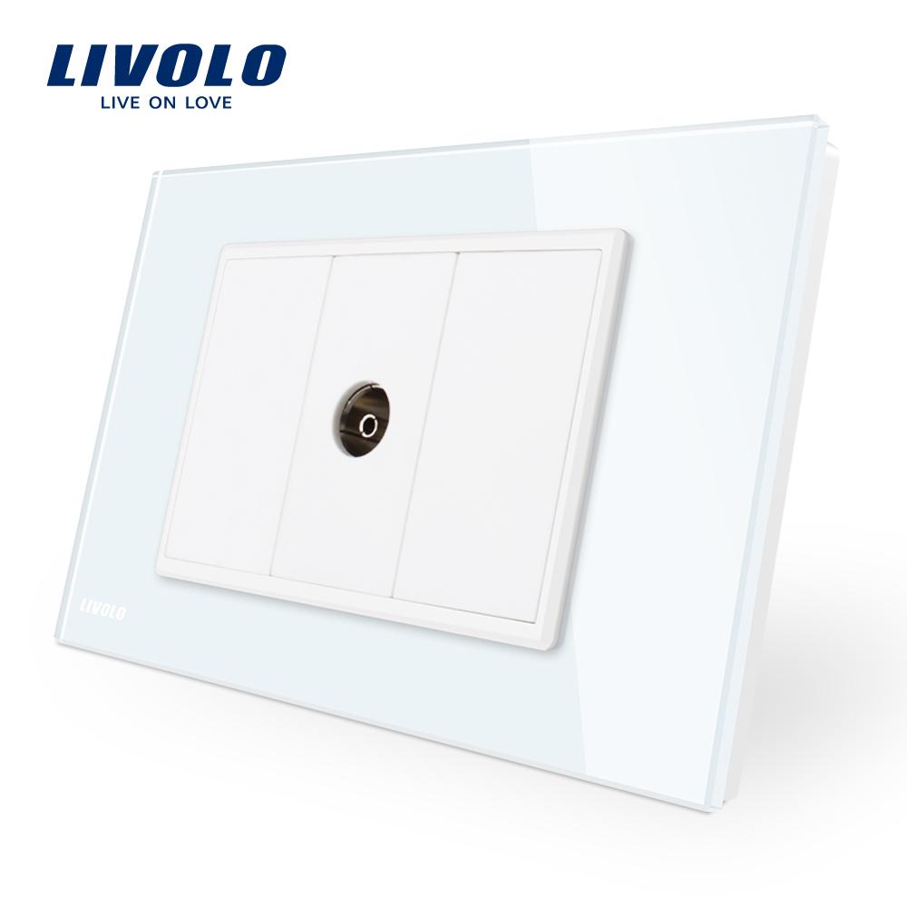 Priza simpla TV Livolo cu rama din sticla – standard italian imagine case-smart.ro 2021