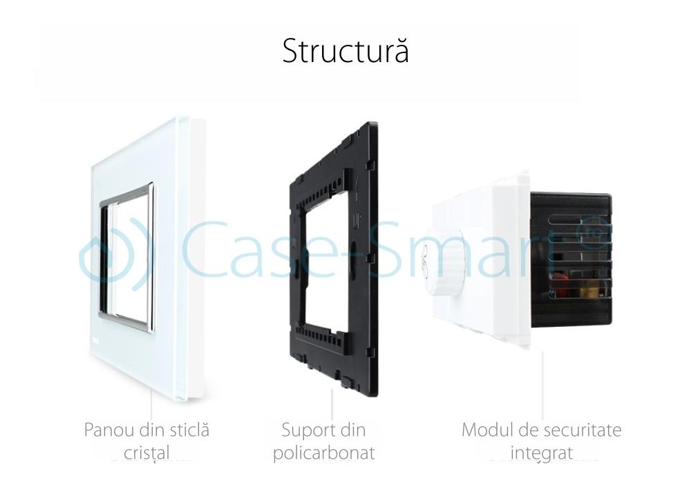 Intrerupator cu variator pentru ventilator Livolo cu rama din sticla – standard italian