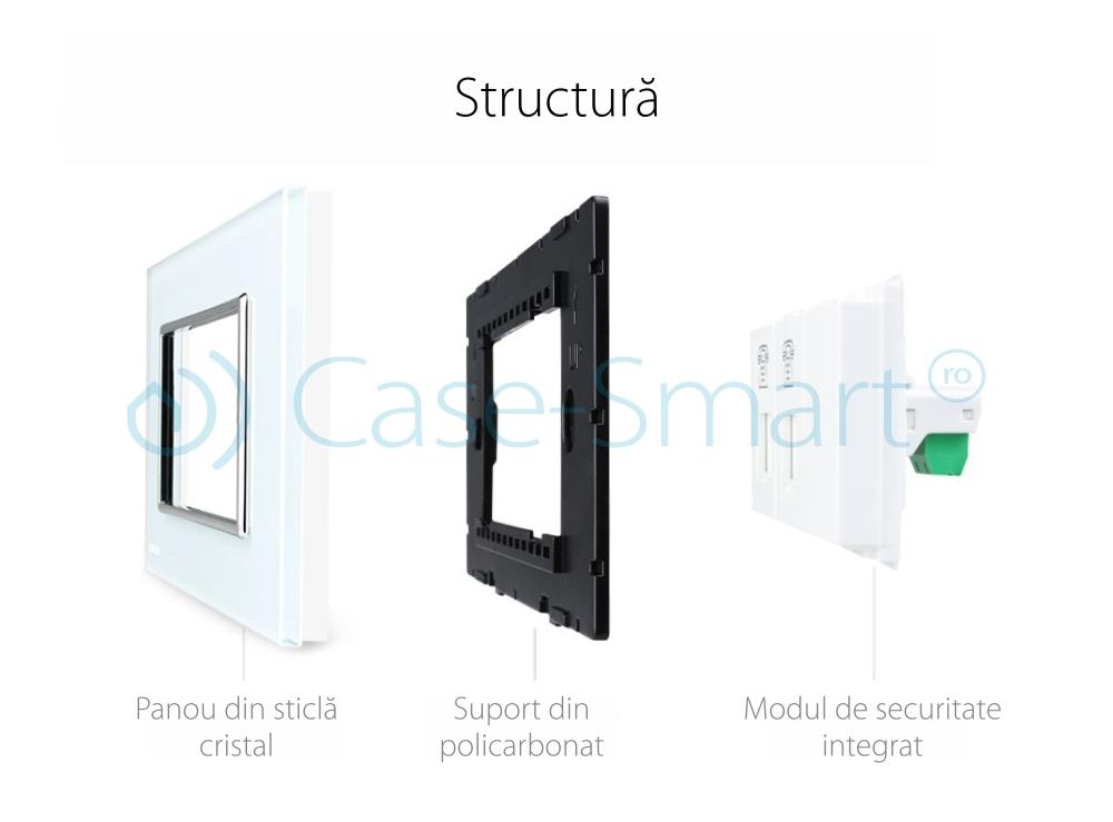 Priza dubla Telefon Livolo cu rama din sticla – standard italian