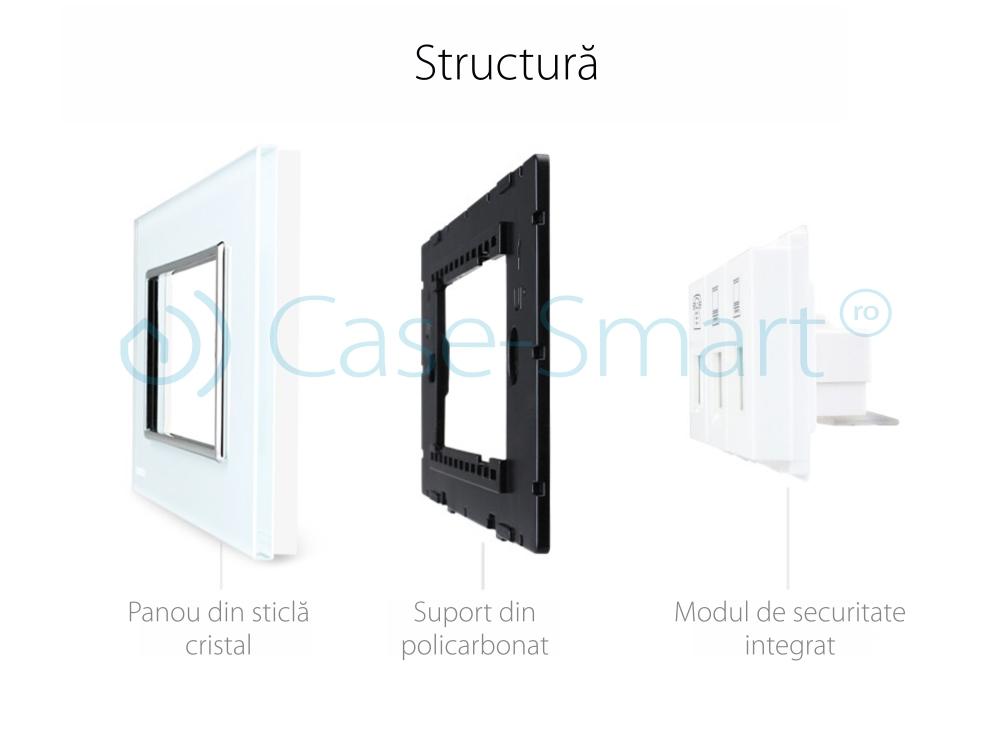 Priza telefon+dubla internet Livolo cu rama din sticla – standard italian