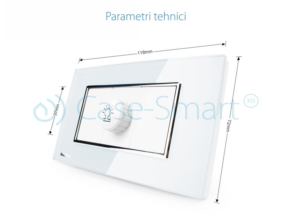 Intrerupator cu variator Livolo cu rama din sticla – standard italian
