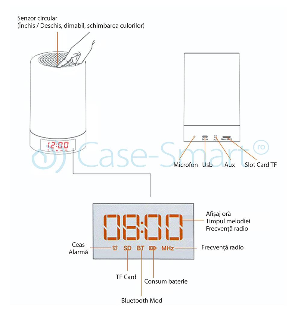 Boxa Red Sun M6 cu ceas, alarma si Bluetooth