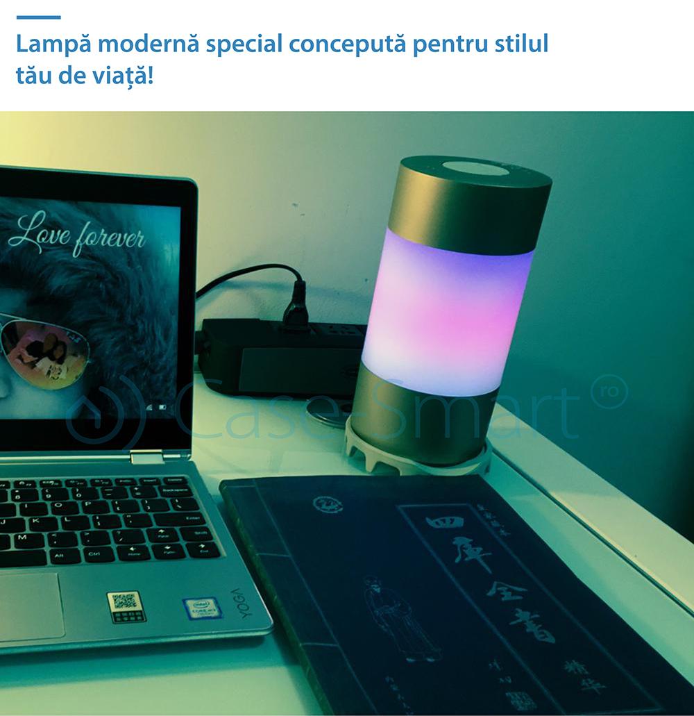 Subwoofer inteligent portabil, lampa RGB, bluetooth si lumina SOS Red Sun