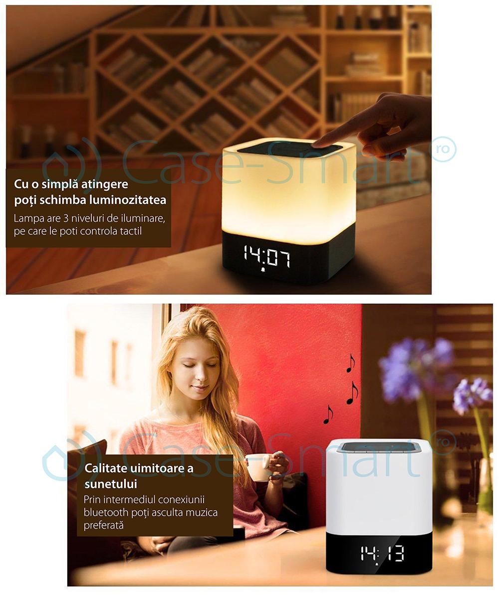 Boxa portabila si lampa Red Sun DY-28 cu touch, ceas alarma si Bluetooth