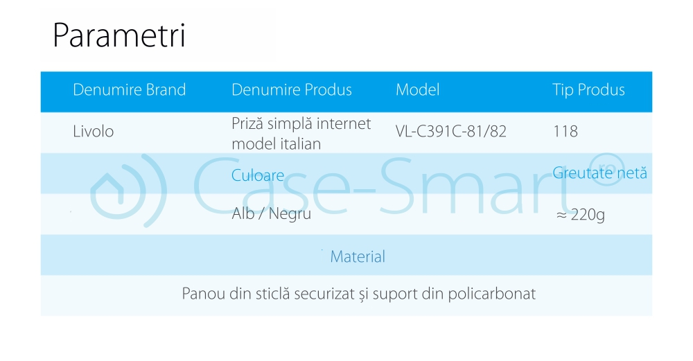 Priza internet Livolo cu rama din sticla – standard italian