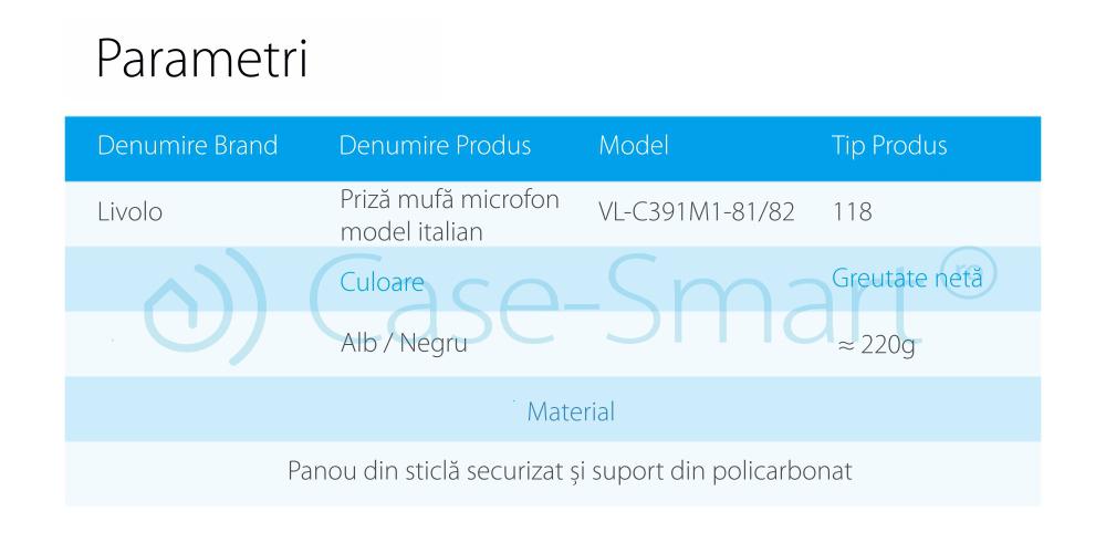 Priza cu mufa pentru microfon Livolo cu rama din sticla – standard italian