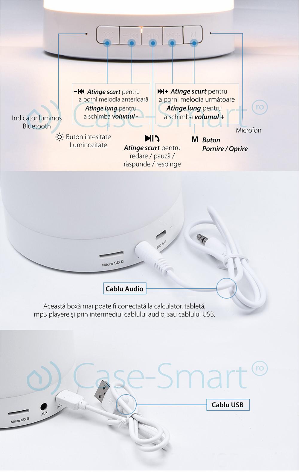 Boxa si lampa inteligenta portabila cu bluetooth Red Sun RS-WBSL-LV2016-RGB