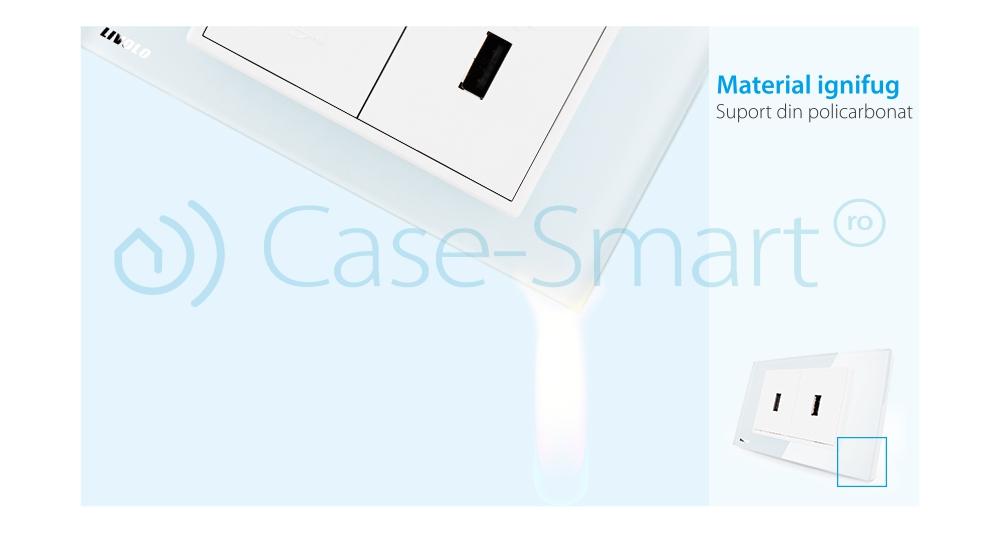 Priza dubla USB Livolo cu rama din sticla – standard italian