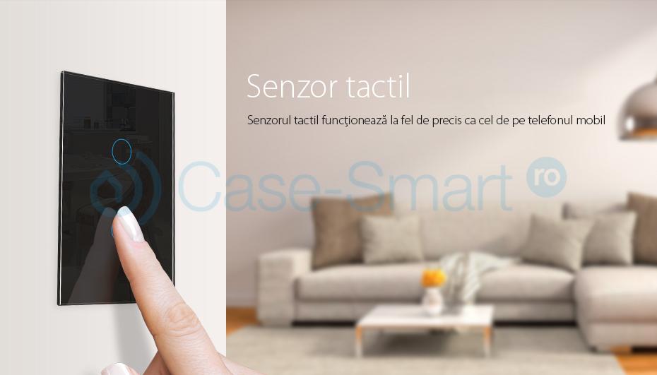 Intrerupator dublu cu variator cu touch Livolo din sticla – standard italian