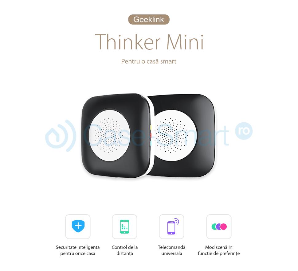 Hub inteligent cu functie de telecomanda universala, centrala casa inteligenta Geeklink Thinker Mini