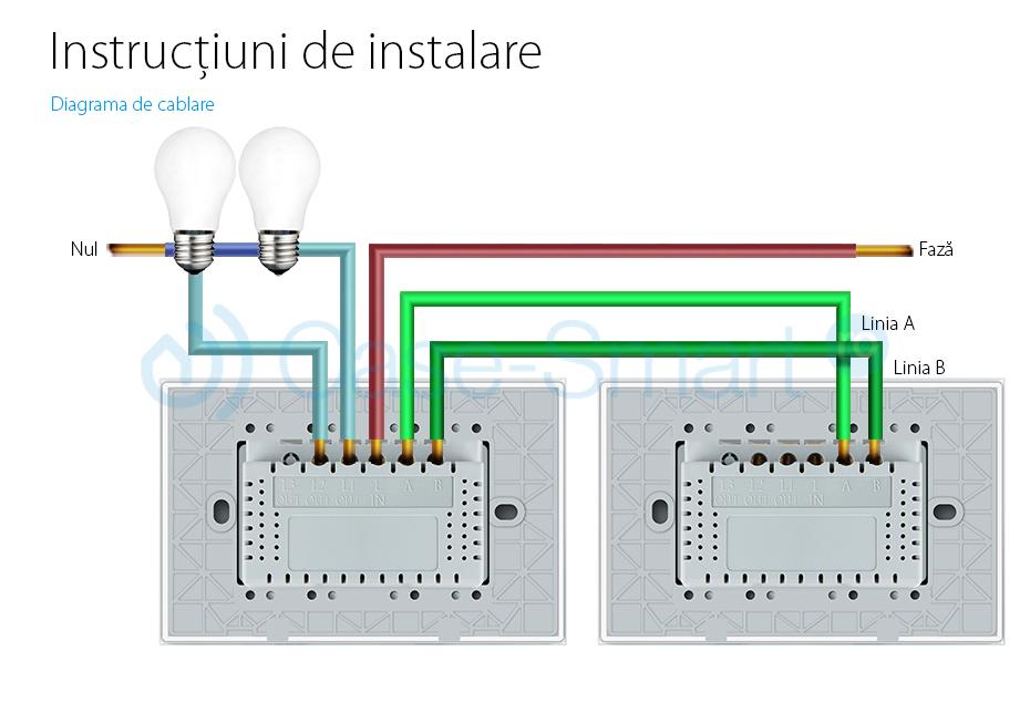 Intrerupator dublu cap scara/cruce wireless cu touch Livolo din sticla – standard italian