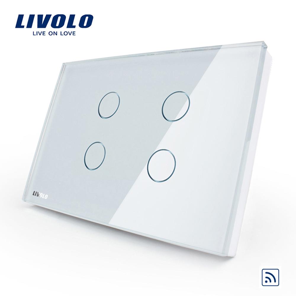 Intrerupator cvadruplu wireless cu touch Livolo din sticla – standard italian imagine case-smart.ro 2021