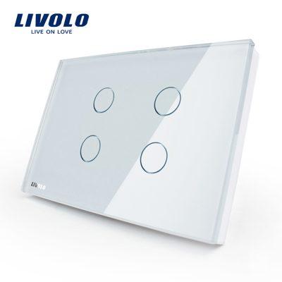 Intrerupator cvadruplu cu touch Livolo din sticla – standard italian