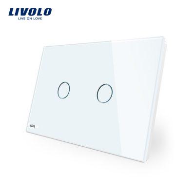 Intrerupator dublu cu touch Livolo din sticla – standard italian
