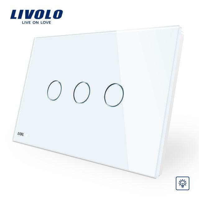 Intrerupator triplu cu variator cu touch Livolo din sticla – standard italian imagine case-smart.ro 2021